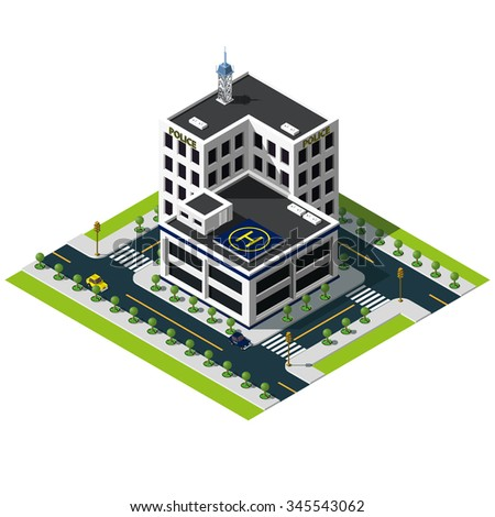 Isometric police department building. Police department icon. - stock vector