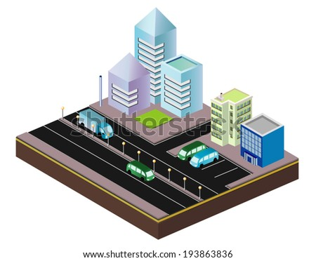 Isometric. Portion of the city.