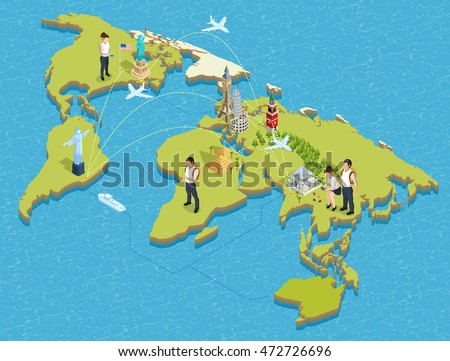 Isometric poster of global map with famous landmarks tourists flight paths and waterways on it vector illustration