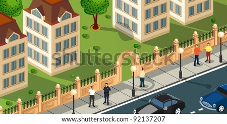 Isometric projection of the vector of the city with people and cars - stock vector