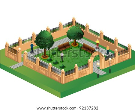 Isometric projection of the vector of urban garden