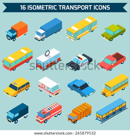 Isometric public city transport 3d icons set isolated vector illustration - stock vector
