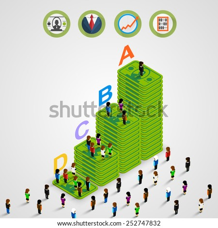 Isometric Pyramid money with people. Vector illustration - stock vector