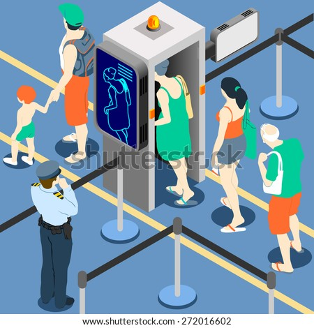 Isometric Queue at Security Checkpoint - Body Scan Machine - Airport Check In - stock vector