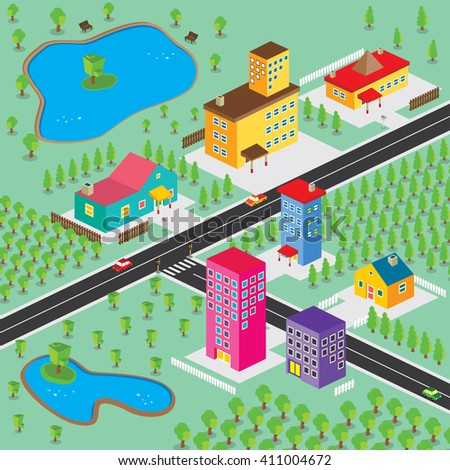 isometric residential view cartoon