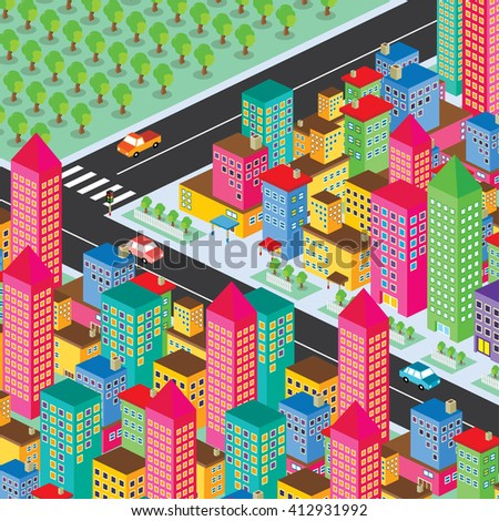 isometric residential view cartoon theme vector illustration - stock vector