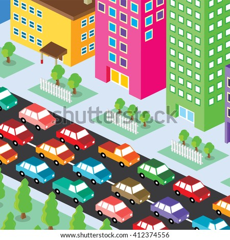 isometric residential view cartoon - traffic jam - stock vector