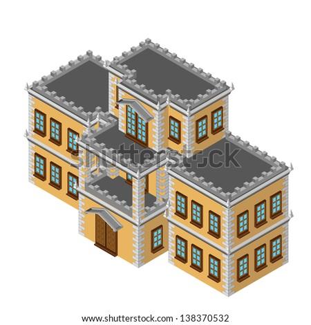 Isometric retro house - stock vector