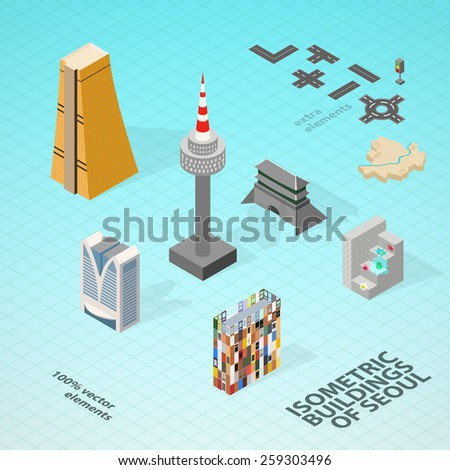 Isometric rooms with furniture, lighting and carpets - stock vector