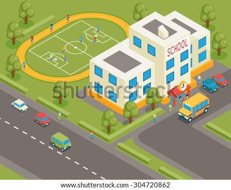 Isometric school or university vector building. 3d student avatar and school bus. Flat design.  Street structure, pupils and football field, tree and road, vector illustration - stock vector