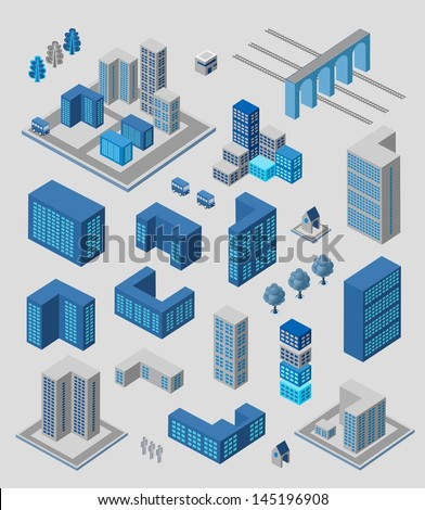Isometric set of elements for info graphics on gray