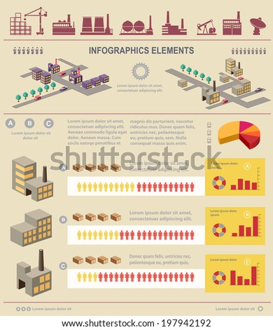 Isometric set of graphics for information on a yellow - stock vector