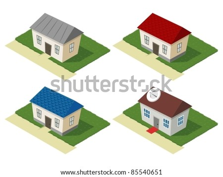 Isometric set of residential houses - stock vector