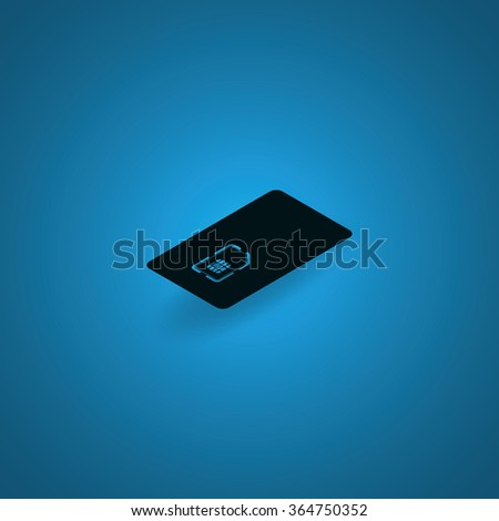 Isometric sim card case illustration. - stock vector