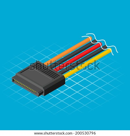 Isometric Six Teen Pin Connector Vector Illustration - stock vector