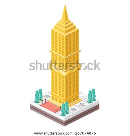 Isometric skyscraper. Creative flat design vector illustration. Isolated on white background. - stock vector