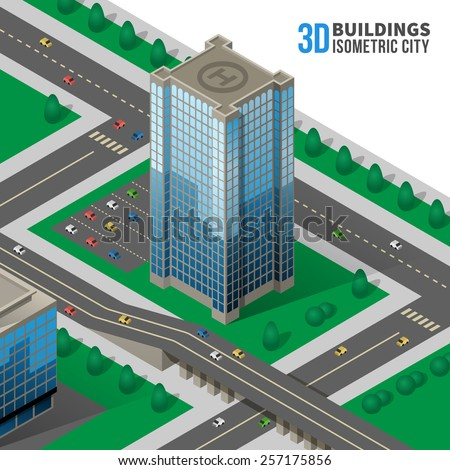 Isometric skyscraper on the street. 3d and road, city and icon. Vector illustration - stock vector