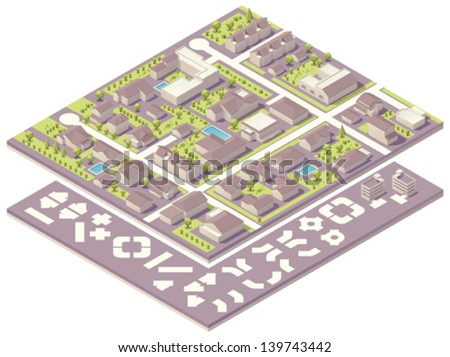 Isometric small town map creation kit - stock vector