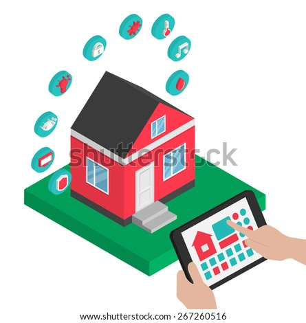 Isometric smart house technology system vector illustration. Hands holding  centralized control of lighting, HVAC (heating, ventilation,  air conditioning), appliances, security on a digital tablet.  - stock vector