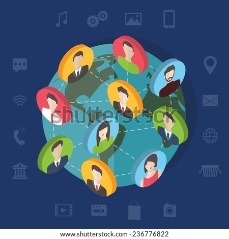Isometric social media network connection concept with user avatars on the map. Flat design vector banner with infographic elements - stock vector
