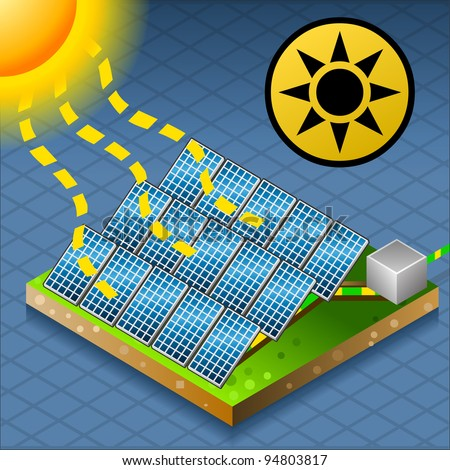 isometric solar panel in production of energy from the sun