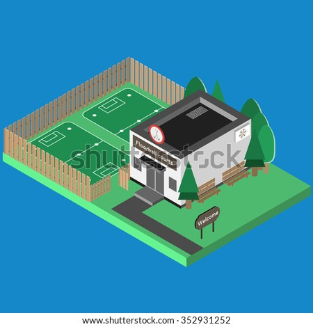 Isometric sport build vector isolated. Floor ball hall and outdoor isometric training scene. 3D sport location. Illustration of isometric sport hall vector. Flat style objects for app, game, design