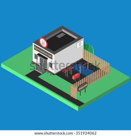 Isometric sport build vector isolated. Gymnastics hall and outdoor isometric training scene. 3D sport location. Illustration of isometric sport hall vector. Flat style objects for app, game, design