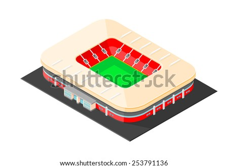 Isometric Sports Stadium with canopy and seating. Isometric Sports Stadium. Sports Stadium. - stock vector