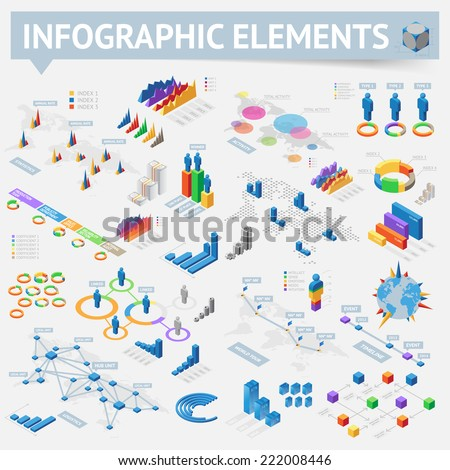 Isometric style infographics with data icons, world map charts and design elements. Vector illustration. - stock vector