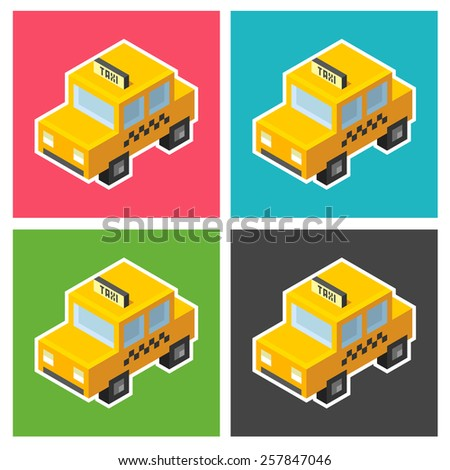 Isometric stylized cartoon taxi icon in four color variants. - stock vector