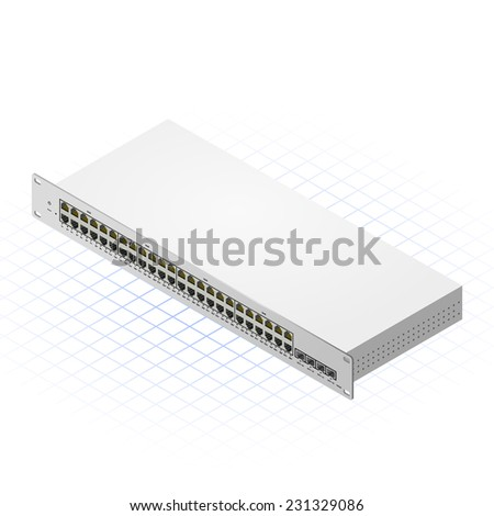 Isometric Switch with Fourty Eight Port Vector Illustration - stock vector