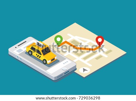isometric taxi location map mobile app stock vector 729036298 shutterstock. Black Bedroom Furniture Sets. Home Design Ideas