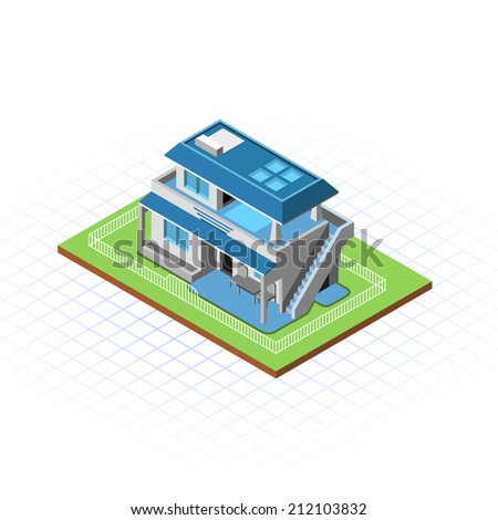 Isometric Terraced House Vector Illustration - stock vector