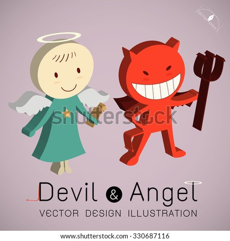 Isometric The red devil and  cute angel  vector illustration - stock vector