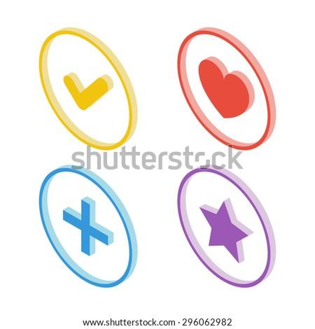Isometric tick icon. Isometric heart icon. Isometric star icon. Isometric plus sign icon. Vector illustration. - stock vector