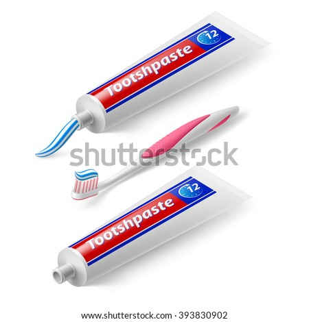 Isometric Toothbrush and Toothpaste on White Background - stock vector