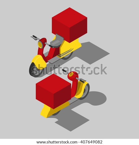 Isometric transport icon. Motorcycle, bike, motorbike, scooter. - stock vector