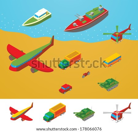 Isometric Transportation collection - stock vector