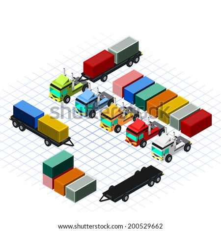 Isometric Trucks with Container Vector Illustration - stock vector