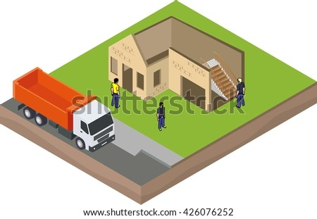 Isometric unfinished brick house construction with truck and builders - stock vector