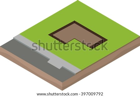 Isometric unfinished house construction: foundations - stock vector