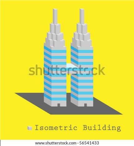 Isometric vector building - stock vector