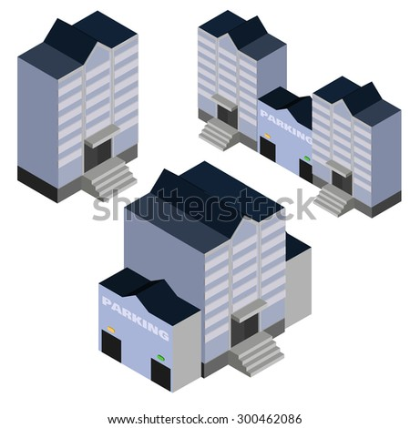 Isometric vector buildings. 3D buildings isolated on white. City apartment buildings and parking vector EPS10.