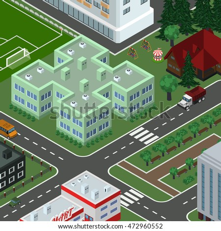 Isometric vector city in top view, with buildings, houses, roads, cars, tracks, children attractions, school football pitch. Urban cityscape.