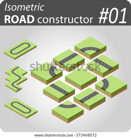 Isometric vector constructor with buildings, roads and other objects. Easy editable colors. Kit to create your 3D city or street map. For your infographic or business design. High quality. - stock vector