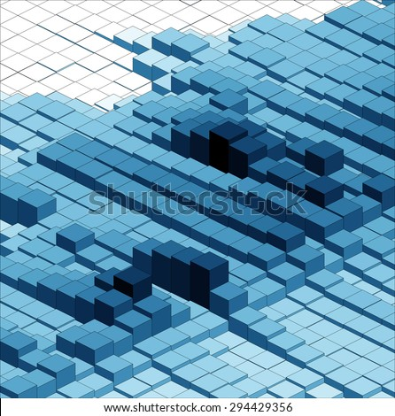 Isometric Vector Graph, Abstract 3D Chart Blue Background - stock vector