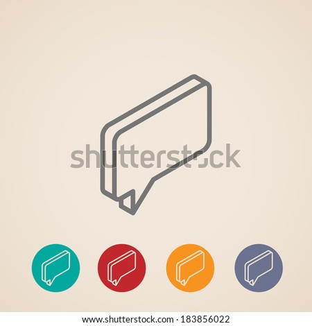 isometric vector icon with speech bubble - stock vector