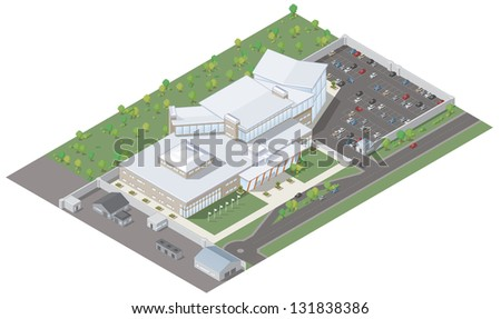Isometric vector illustration of a modern office block building including outbuildings, car park, road, cars and trees. - stock vector