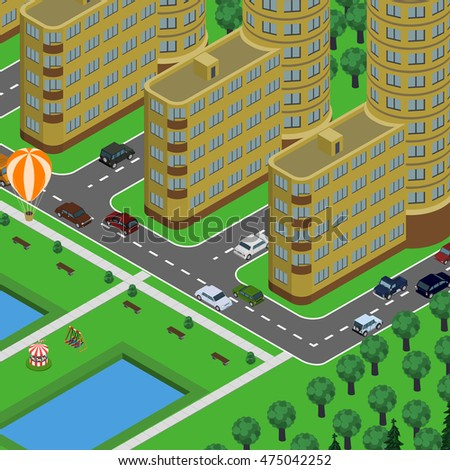 Isometric vector illustration of city in top perspective view, cars, roads, trees, buildings, cityscape, park, pool children attractions, air balloon.
