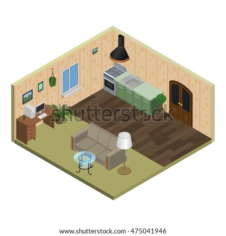 Isometric vector illustration of interior room design, flat with furniture and technology, desk table, cooker, sofa, plant, computer, lamp, kitchen hood, window.